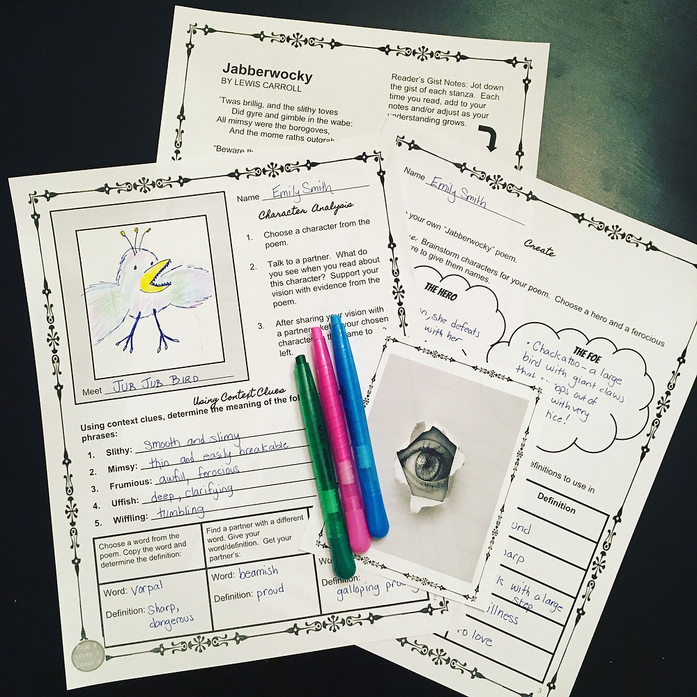 "Students use context clues to understandi the meaning of nonsense words in ""Jabberwocky"""
