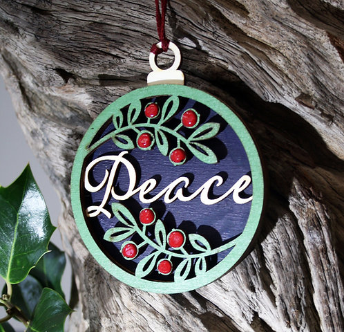 Wooden Tree Decoration: Peace