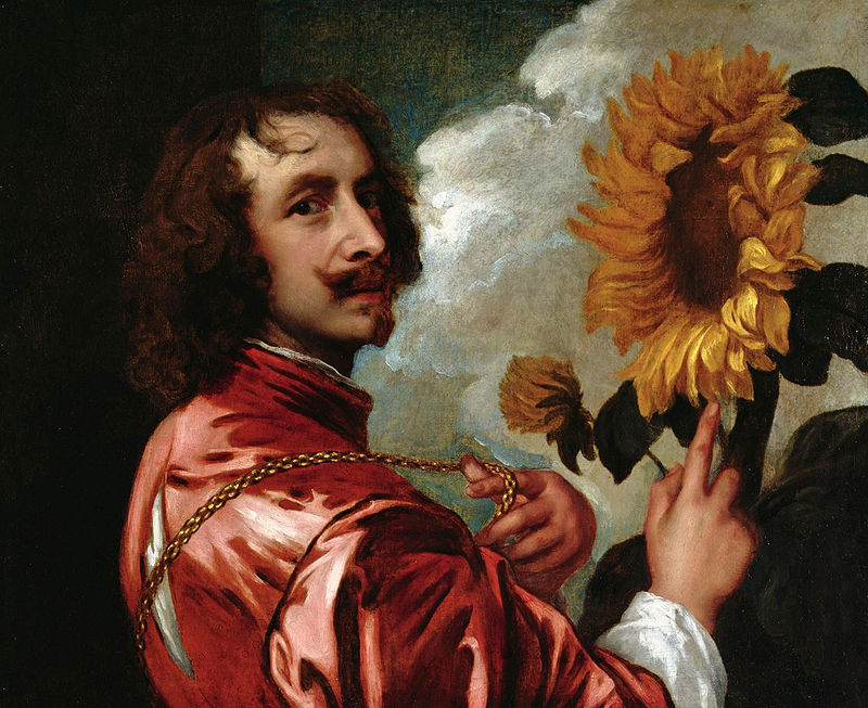 Self-Portrait with a Sunflower - Sir Anthony van Dyck (after 1633)