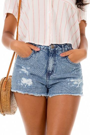 db3e15d65 short jeans desfiado cintura alta
