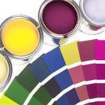페인트 냄비와 컬러 휠
