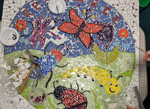 Primary school mosaic project with Special Needs children from 5 -10 years.very challengin