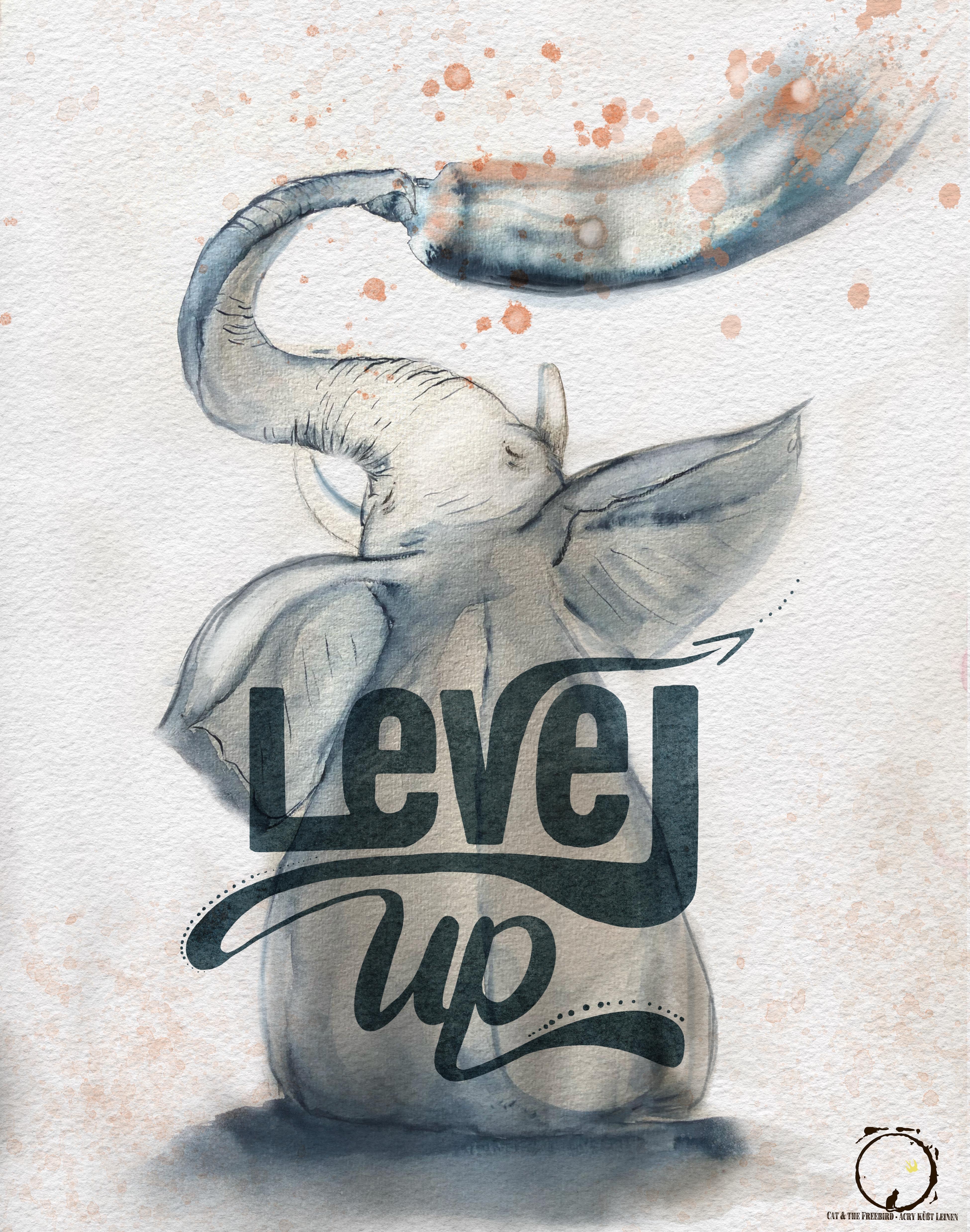 Level Up -Lettering Illustration