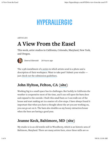 Hyperallergic, A View From The Easel, September 7, 2018