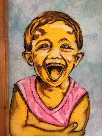 A series of childrens faces in oil pastels