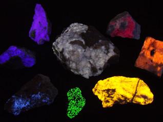 """Rainbow"" assortment of longwave UV reactive minerals"
