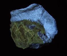 Fluorescent phlogopite and diopside - Papineau RCM, Outaouais, Quebec, Canada