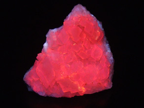 Bright 3 colors fluorescent calcite from Cap-Chat, Gaspe Peninsula, Quebec, Canada