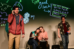 Kevin as Ned, with Jenna Rapisarda, Allison Grischow, and Rob Chesler.