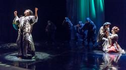 Othello (Christian Wilson) and Cassio with Desdemona (Elana Weiner-Kaplow)