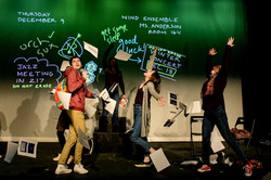 Kevin as Ned, with Allie Wessel, Kayla Higbee, and others.