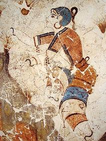 fresques grecques représentant une déesse supervisant la cueillette du safran
