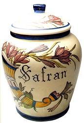 récipient décoré à safran