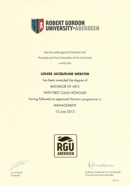 Louise BA (hons) Management Certificate.