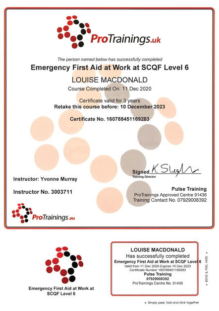 Emergency 1st Aid SCQF Level 6