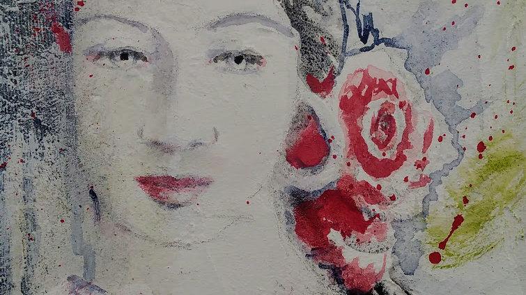Rose avec cadre 33 x 33 cm