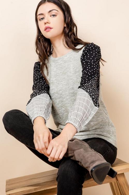 Mixed Print Sleeve Sweater Top