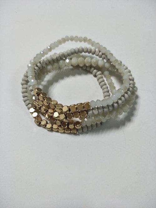 Set of 5 Gold Nugget Bracelet