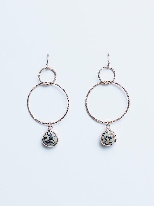 Two Drop Circle Earrings