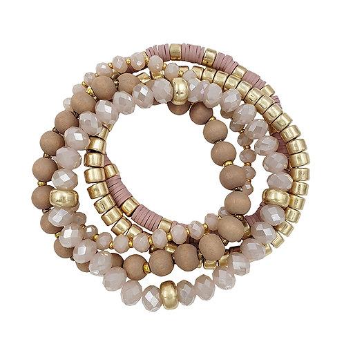 Set of 5 Gold Beaded Bracelet