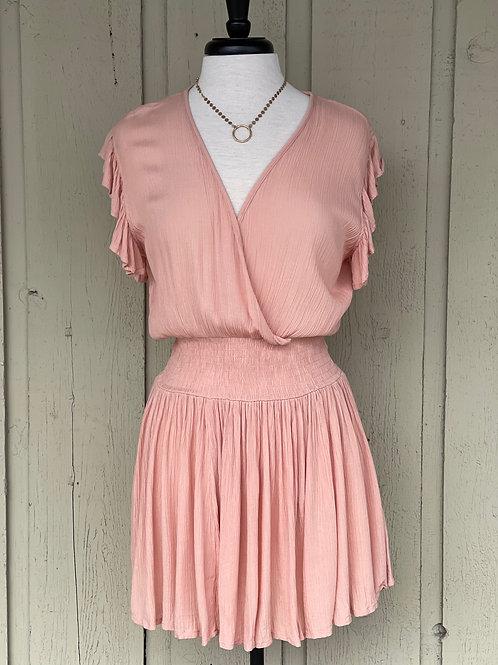 Cross Front Smock Waist Dress