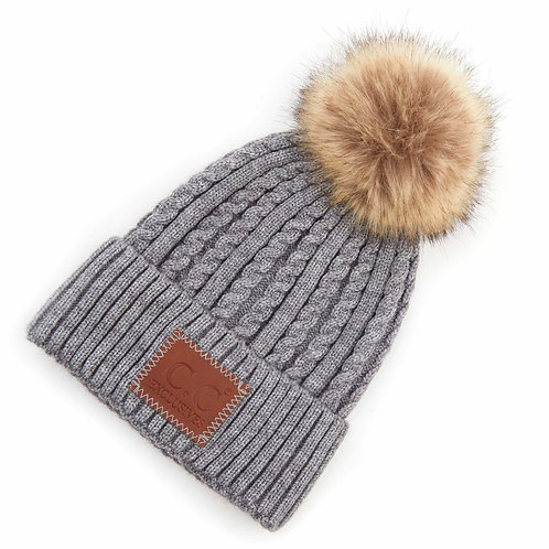 Double Braided Hat w/Pom