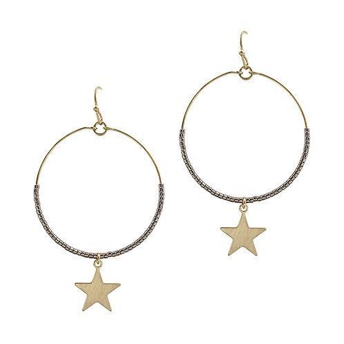Beaded Star Drop Earring