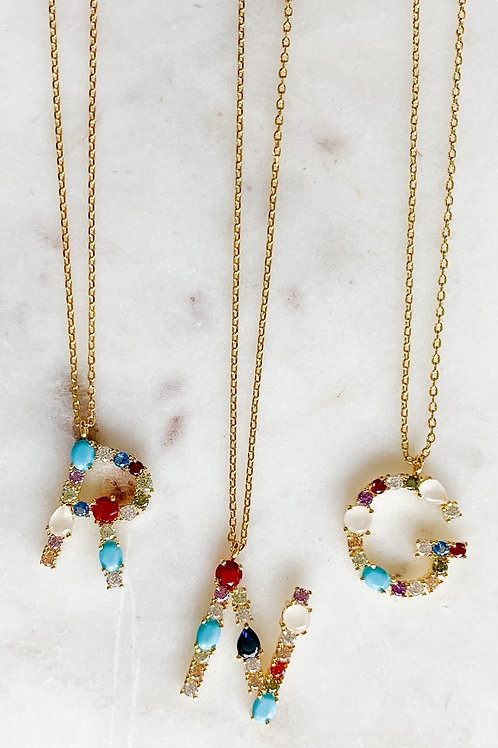 Mixed Stone Initial Necklace
