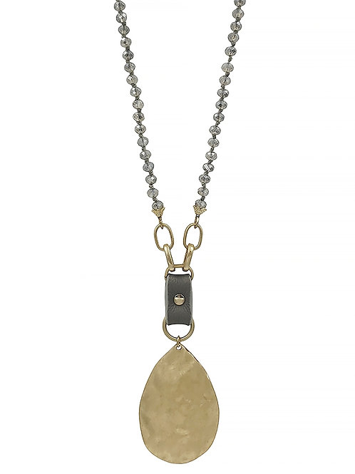 Crystal & Leather Teardrop Necklace