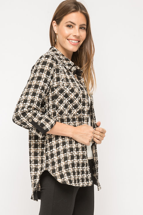 Tweed Plaid Shirt Jacket