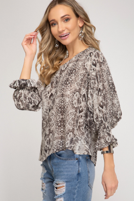 Smocked Sleeve Blouse