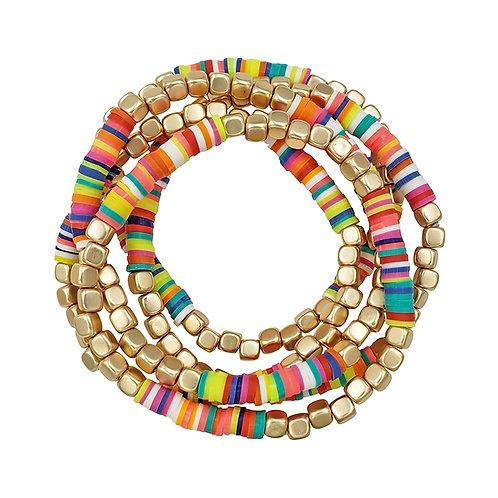 Rubber & Gold Nugget Bracelet Set