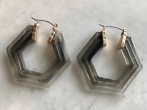Raised Resin Octagon Earring