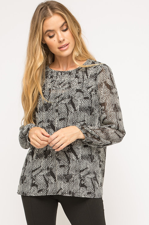 Houndstooth Smocked Neck Blouse