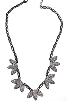 Antique Bronze Leaf Flower Necklace