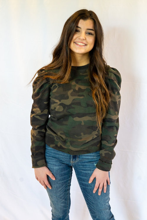 Camo Puff Shoulder Top