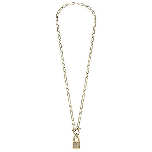 Locket Toggle Bar Link Necklace