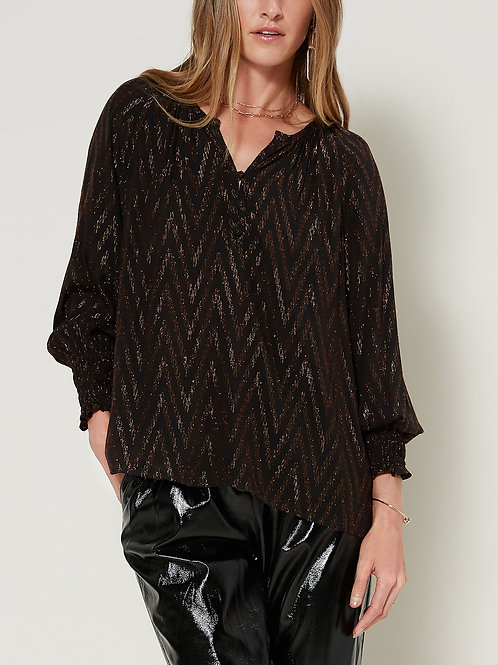Metallic Chevron Textured Blouse