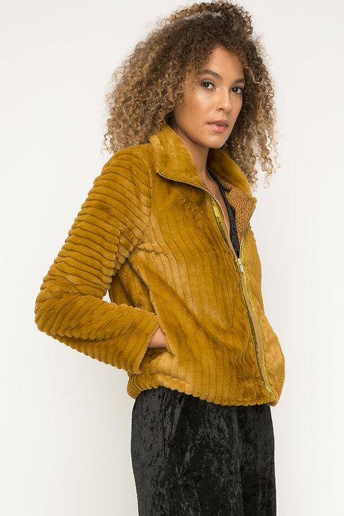 Rib Texture Fur Jacket