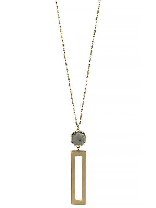 Stone & Open Rectangle Necklace