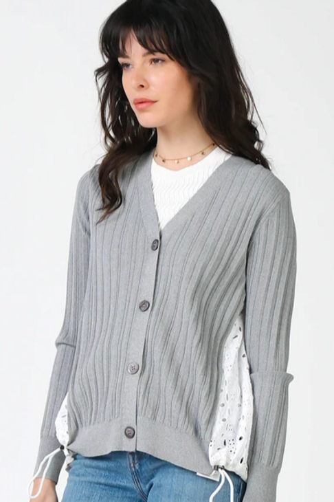 Cardigan w/Eyelet Lace Back