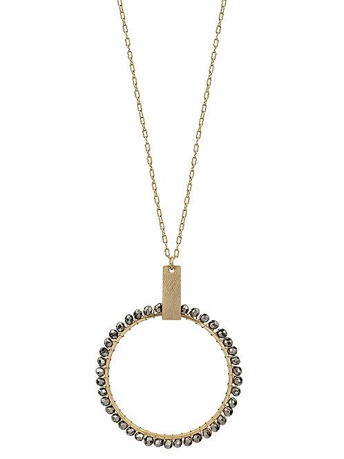 Circle w/Hematite Crystal Necklace