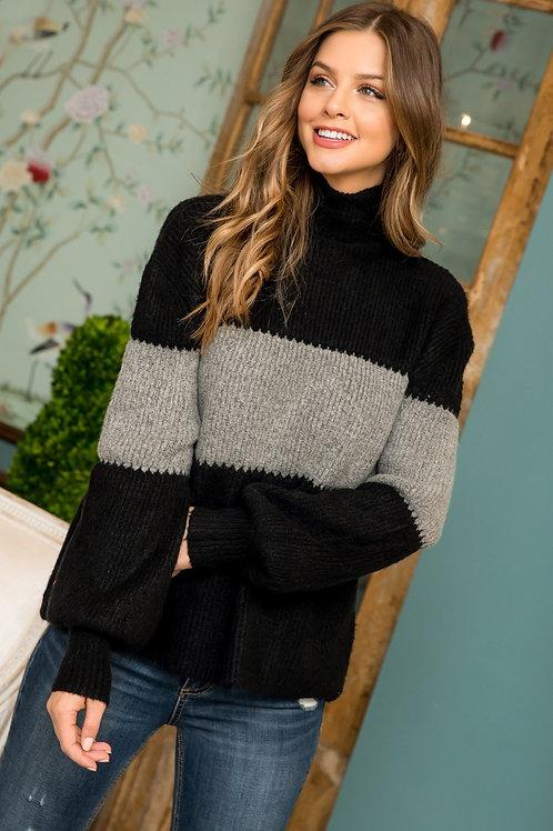 Colorblocked Bishop Sleeve Sweater