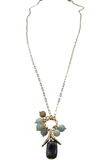 Amazonite-Labradorite Charms Necklace