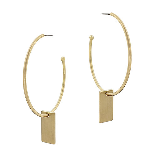 Hoop w/Rectangle Drop Earring
