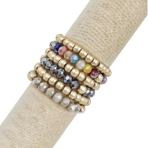 Crystal & Gold Ring Set