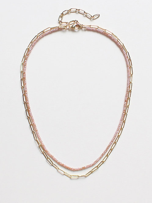 Crystal & Gold Chain Layered Necklace