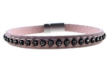 Single Leather w/Clear Crystal