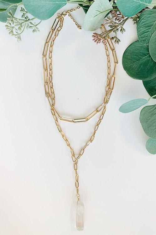 Two-Layer Quartz Pendant Necklace