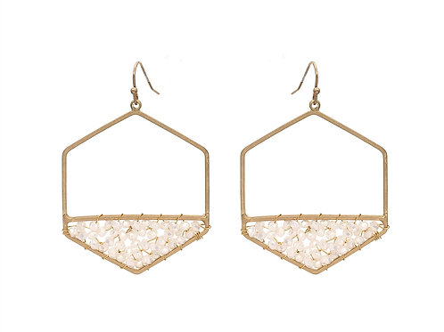 Crystal Wired Hexagon Earring